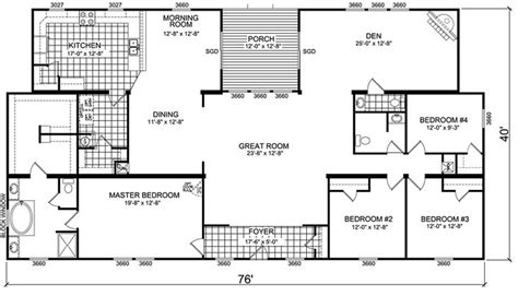 4 bedroom double wide mobile home floor plans triple wide mobile home floor plans manufactured home