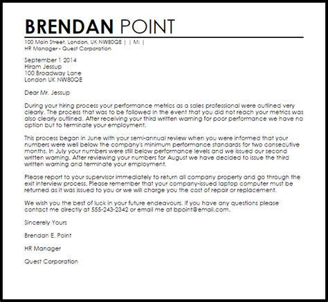 termination letter due poor performance livecareer