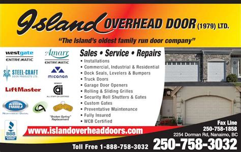 island overhead door 1979 ltd commercial and residential island overhead door 1979 ltd nanaimo bc 2254 dorman rd canpages