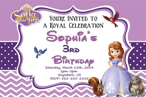 sofia the birthday card template sofia birthday invitations templates