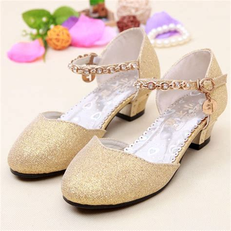 flower dress shoes 2016 children princess glitter sandals flower