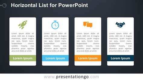 Horizontal List For Powerpoint Presentationgo Com Powerpoint List Templates