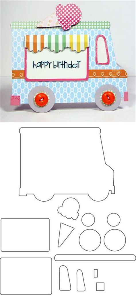 trem card template furgoneta de los helados craft para hacer una