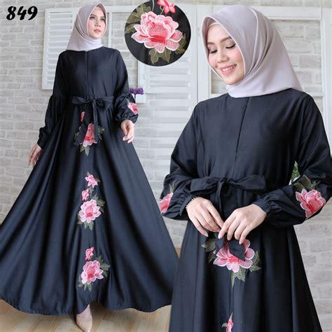 Lucia Syari Bordir Hitam gamis baloteli bordir hitam putih c849 baju muslim murah