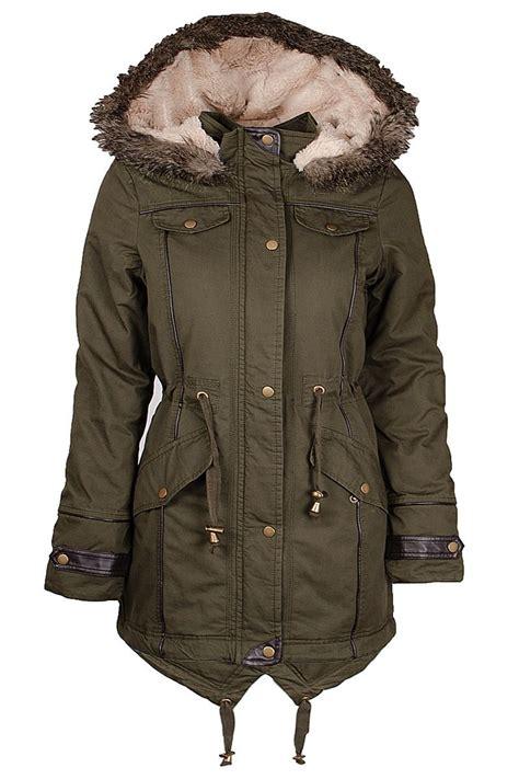womens canvas khaki fishtail parka jacket padded coat fur