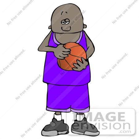 african american boy holding a basketball clipart | #12694