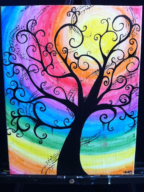 color and paint creepy swirly rainbow tree11x14 water color canvas by