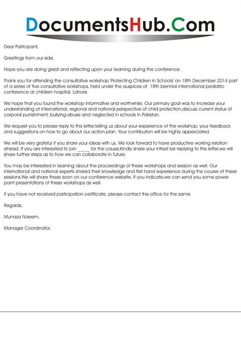 Cancellation Letter Workshop thank you letter for participating in workshop