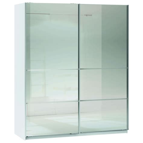 space white 2 door mirrored sliding wardrobe