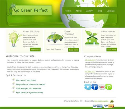 go html template free go green css website template templates