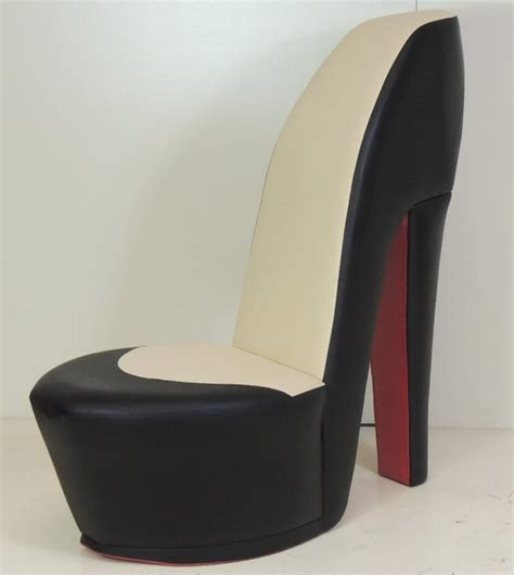 black shoe high heel stiletto chair with sole