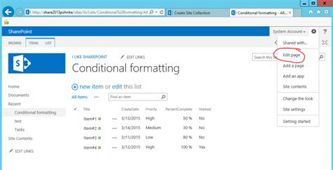 edit page in sharepoint designer 2013 conditional