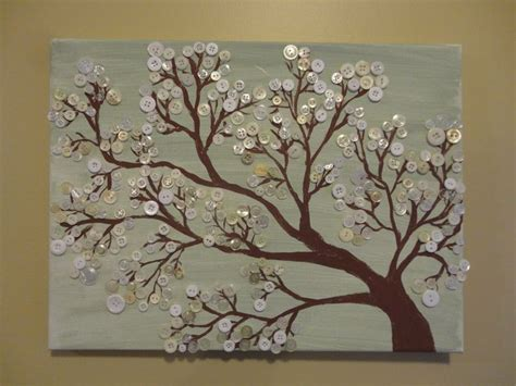 Button Painting made this button tree on canvas button trees on canvas button tree trees and