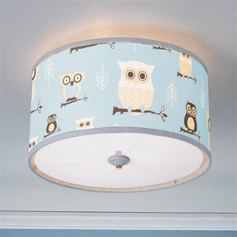 Baby Room Ceiling Light Owls Drum Shade Ceiling Light Owl Pink Blue And Acrylics