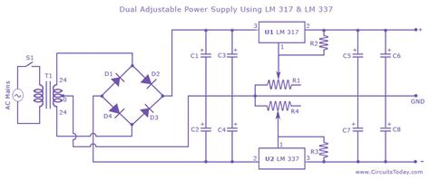 lm317 resistor wattage dual variable power supply with lm337 and lm317 electrical engineering stack exchange