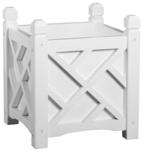 Chippendale Square Planter by Chippendale Square Planter White Traditional Outdoor