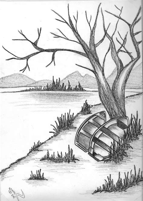 drawing themes on nature pencil drawing of natural scenery simple pencil drawings
