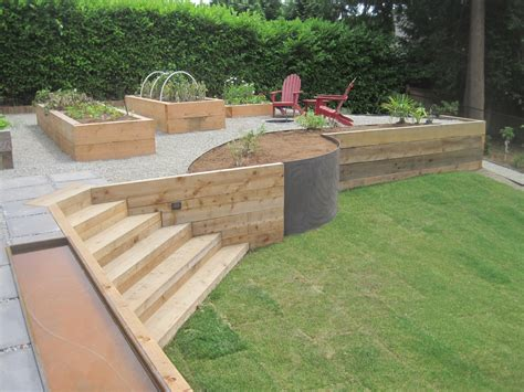 wood retaining wall planters   retainer walls