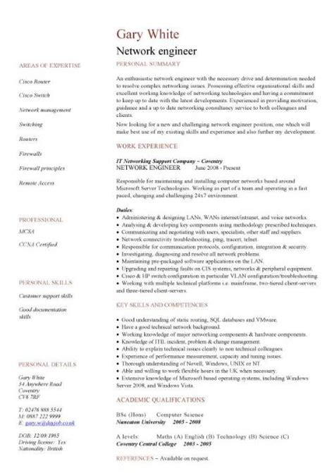 resume format for networking support engineer it cv template cv library technology description