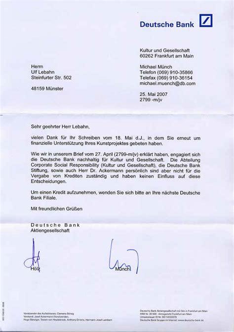 deutsche bank brief arbeitsaufgabe