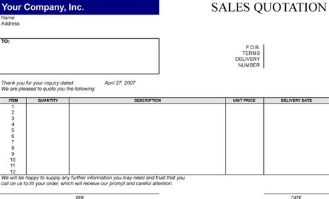 download sales quotation template3 for free formxls