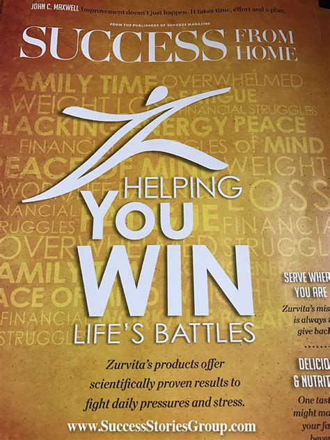 success from home magazine featuring the zurvita business