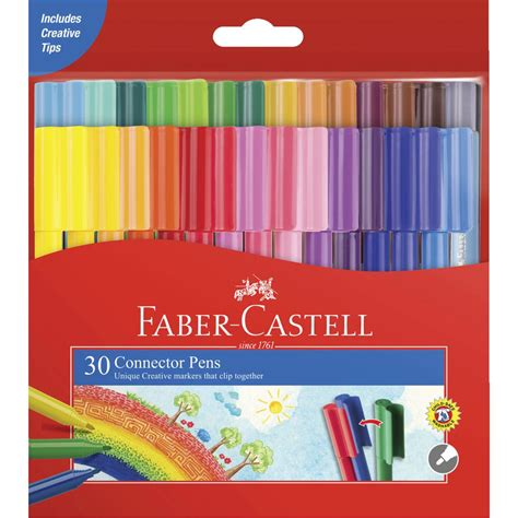 Connector Pens Faber Castell 30 Cols faber castell connector pens 30 pack officeworks