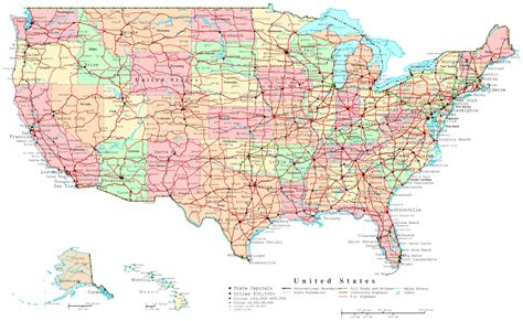 large us road map united states printable map
