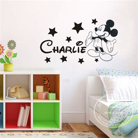 mickey mouse bedroom stickers diy removable mickey mouse personalised boys kids bedroom