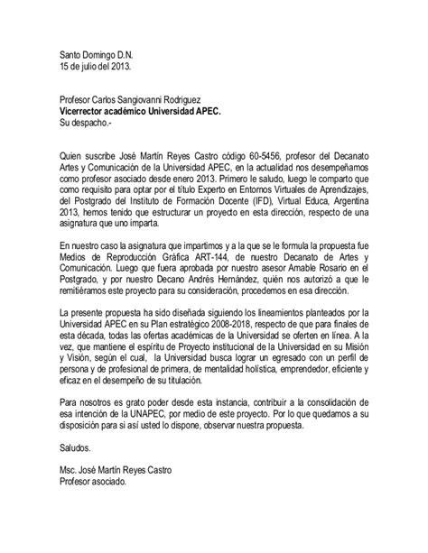 Carta diriguida a la vicerrectoría académica de la unapec