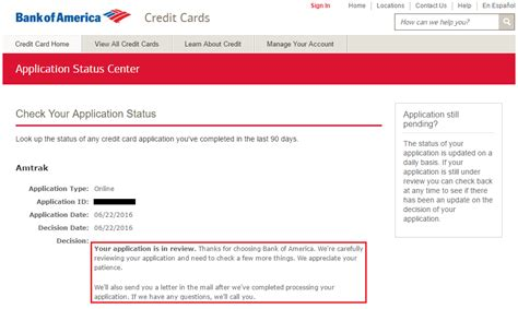 design application status bank of america business credit card application status