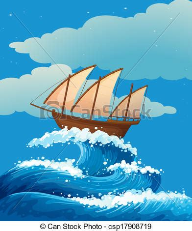 cartoon boat waves a ship above the giant waves illustration of a ship above