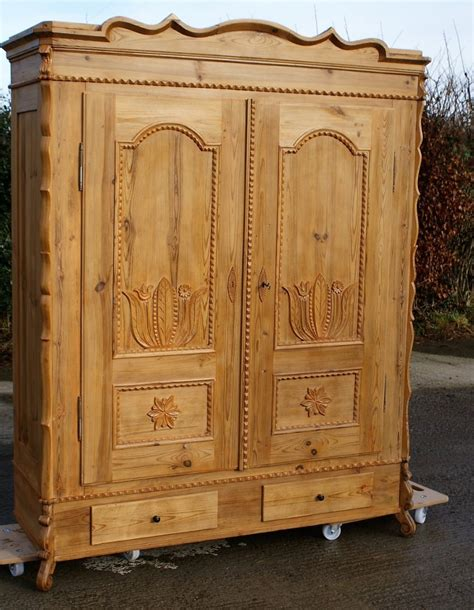 solid pine armoire 19th century large antique french solid pine armoire