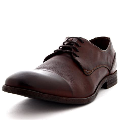mens h by hudson drum dye leather brown smart office
