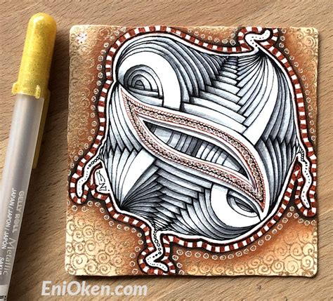 challenge 129 use string 004 tangles sez ilana and learn to shade zentangle 174 with czt eni oken enioken com
