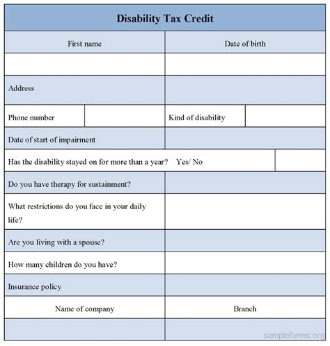 Forms Disability Tax Credit Disability Tax Credit Form Sle Disability Tax Credit Form Sle Forms
