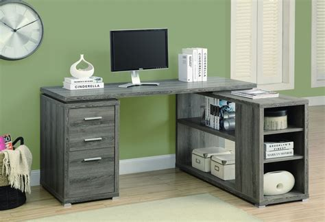 corner l shaped office desk with storage in dark taupe