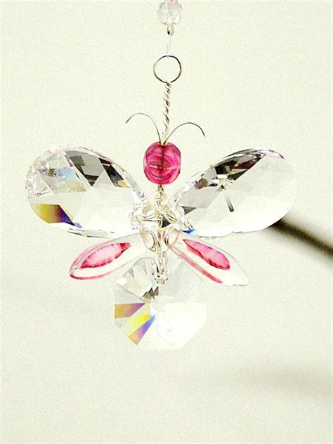Kung Souvenir Kulot Rainbow Five Pink gift for pink butterfly ornament swarovski suncatcher gift wedding garland car charm