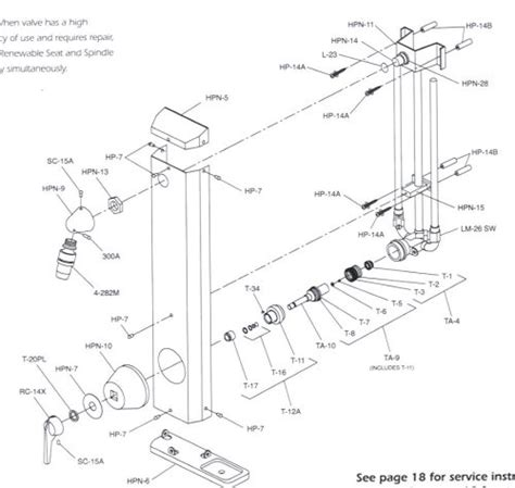 Symmons Faucets Parts by Symmons Hydapipe 901 Parts Breakdown