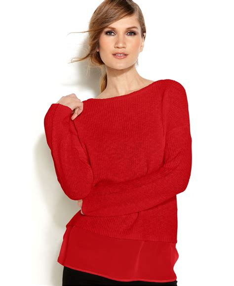 Hoodie Cardigan Chiffon Import 1 vince camuto two by sleeve chiffon hem sweater in lyst
