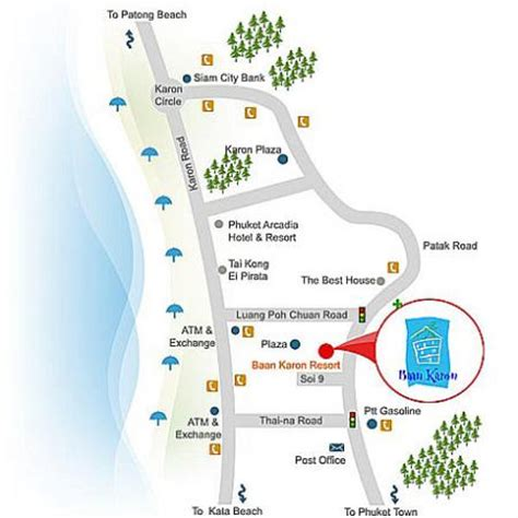 karon resort map map of baan karon resort phuket