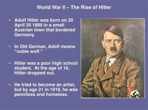 Biography Of Adolf Hitler Ppt | ppt world war ii the rise of hitler powerpoint