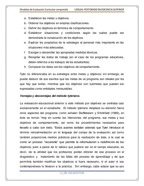 Modelo De Evaluacion Curricular Modelos De Evaluaci 243 N Curricular Compendio