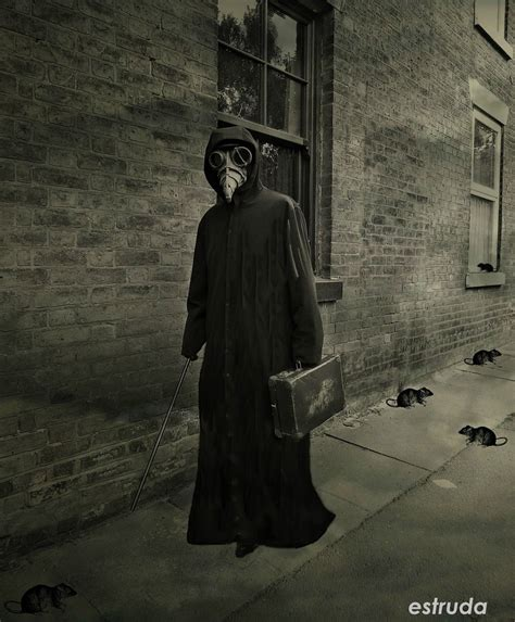 black death the plague doctor on his way to another sufferer by