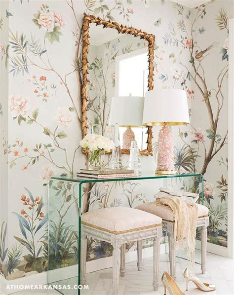 whimsical dressing room  lucite waterfall table