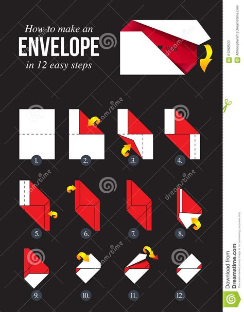 How To Make A Paper Envelope Without Glue - how to make a paper envelope without glue stock vector