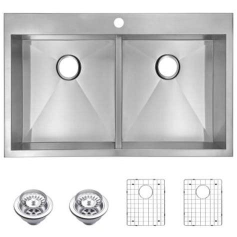 Zero Radius Kitchen Sink Water Creation Top Mount Zero Radius Stainless Steel 33 In 1 Bowl Kitchen Sink With