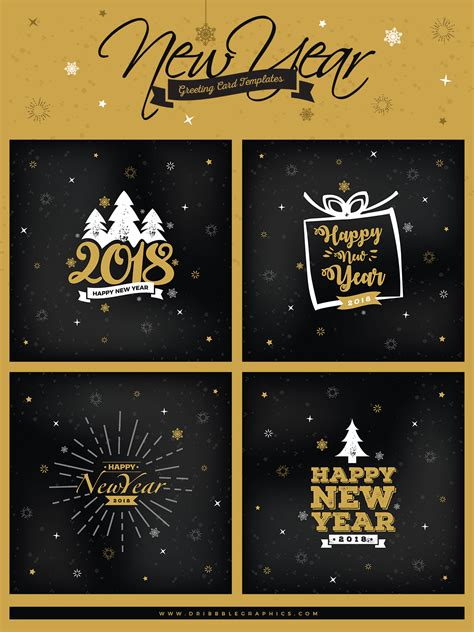 new year card template free 4 free new year greeting card templates dribbble graphics