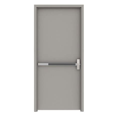 Exterior Steel Doors And Frames L I F Industries 36 In X 84 In Gray Flush Exit Left Proof Steel Prehung Commercial