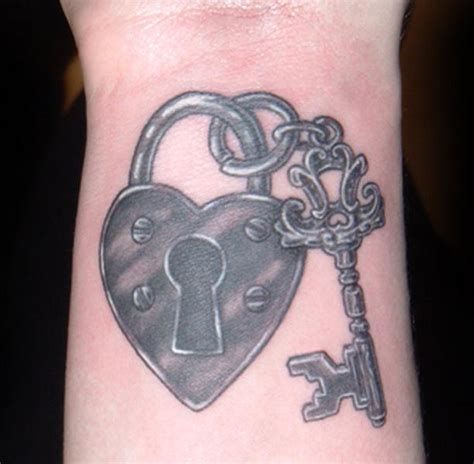 black heart with lock and key tattoo heart tattoos